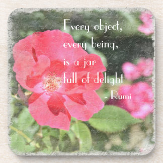 Painted Rose Floral Garden Rumi Quote Coaster Set