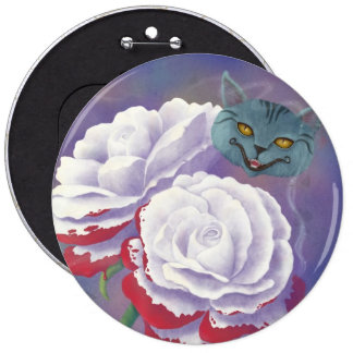 Painted Roses and Cheshire Cat Button