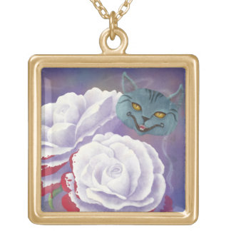 Painted Roses and Cheshire Cat Necklace