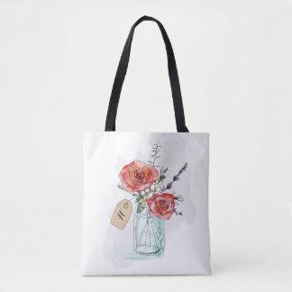 Painted Roses in Mason Jar Floral Monogram Tote Bag