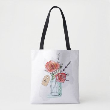 beckynimoy Painted Roses in Mason Jar Floral Monogram Tote Bag