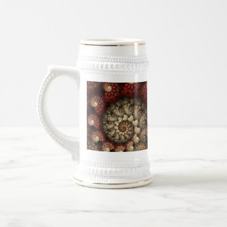 """""""Painted Roses"""" Red and White Spiral Fractal Beer Stein"""