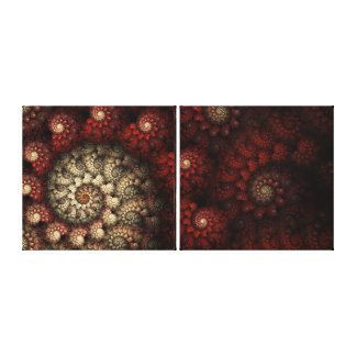 """Painted Roses"" Red and White Spiral Fractal Canvas Print"