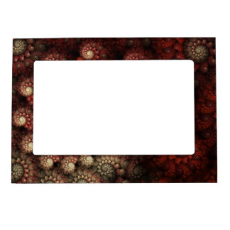 """Painted Roses"" Red and White Spiral Fractal Magnetic Picture Frame"