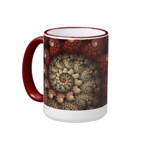 """Painted Roses"" Red and White Spiral Fractal Ringer Coffee Mug"