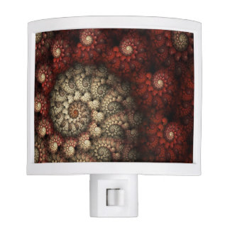 """""""Painted Roses"""" Red and White Spiral Fractal Night Light"""