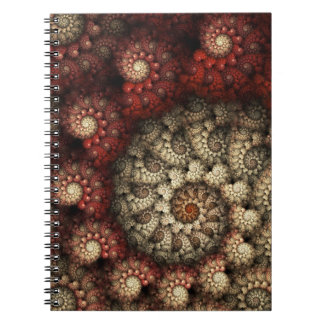 """Painted Roses"" Red and White Spiral Fractal Notebook"