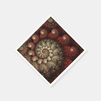 """Painted Roses"" Red and White Spiral Fractal Standard Cocktail Napkin"