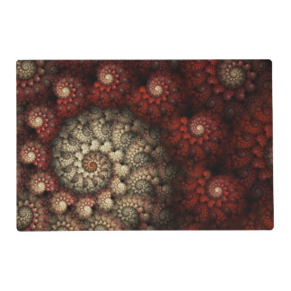 """""""Painted Roses"""" Red and White Spiral Fractal Placemat"""