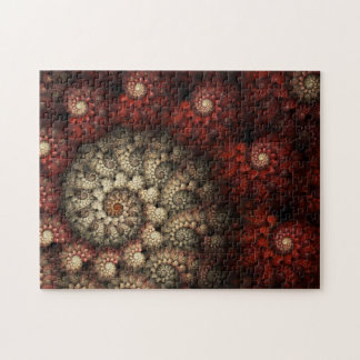 """""""Painted Roses"""" Red and White Spiral Fractal Puzzle"""