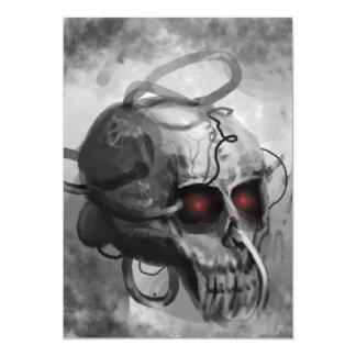 "Painted sci-fi skull invitation 5"" x 7"" invitation card"