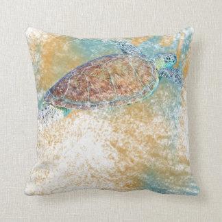 Painted Sea Turtle Throw Pillow | Beach & Coastal