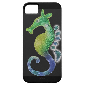 Painted Seahorse with black background iPhone 5/5S Covers