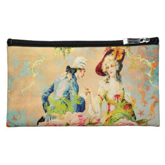 Painted Seahorses with French Love Distressed Makeup Bag