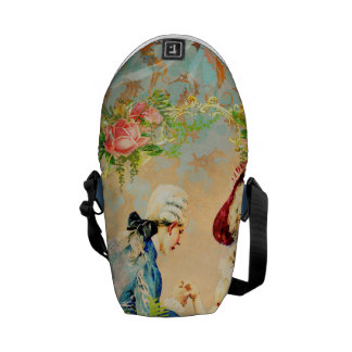 painted seahorses with French Love Distressed Messenger Bag