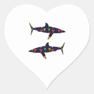 PAINTED SHARK fish danger kids navinJOSHI NVN99 Heart Sticker