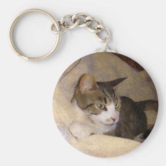 Painted Silk Kitty Keychain