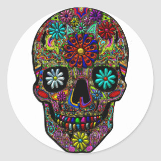 Painted Skull Floral Art Classic Round Sticker
