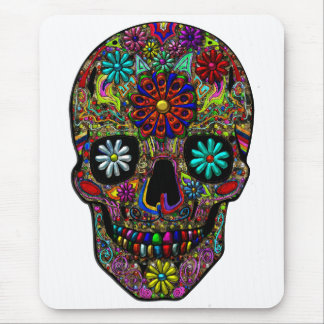 Painted Skull Floral Art Mouse Pad