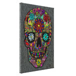 Painted Skull Floral Art on Faux Shark Skin Canvas Print