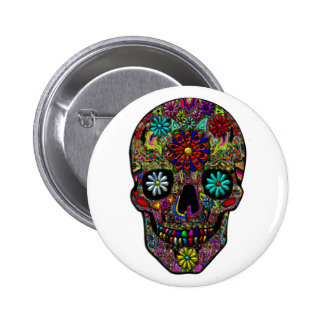 Painted Skull Floral Art Pinback Button