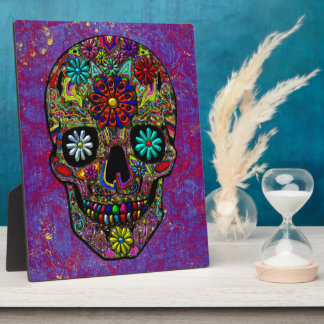 Painted Skull Floral Art Plaque