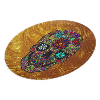 Painted Skull Floral Art Plate