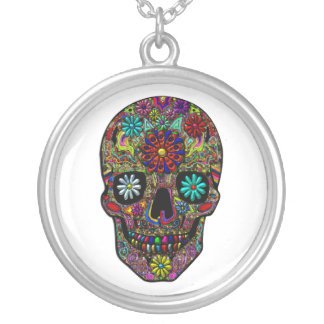 Painted Skull Floral Art Silver Plated Necklace