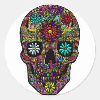 Painted Skull Floral Art Round Sticker