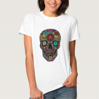 Painted Skull Floral Art T-shirt