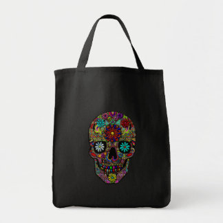 Painted Skull Floral Art Tote Bag