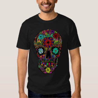 Painted Skull with Floral Design Shirt