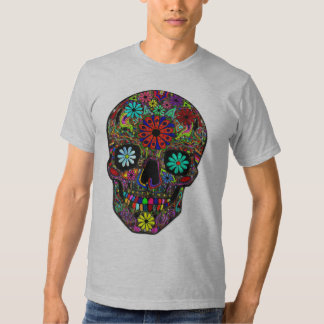 Painted Skull with Floral Design Tee Shirt