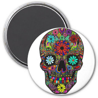 Painted Skull with Flowers 3 Inch Round Magnet