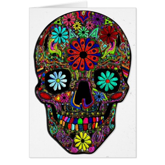 Painted Skull with Flowers Card