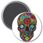 Painted Skull with Flowers Refrigerator Magnets