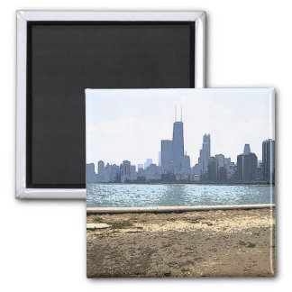 Painted Skyline of CHicago 2 Inch Square Magnet
