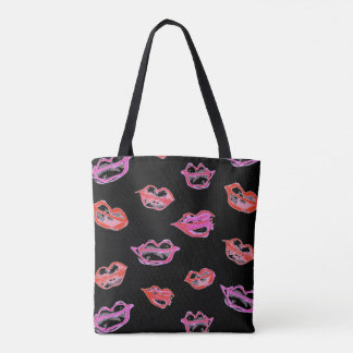 Painted Smudged Lips Tote Bag