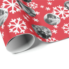 Painted Snowflakes Photo Gift Wrap red white