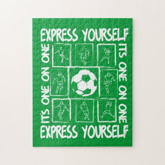 Painted soccer motivational jigsaw puzzle