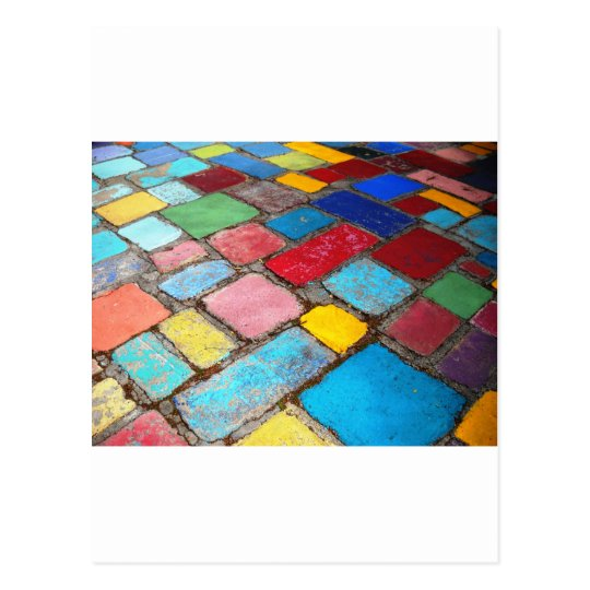 Painted Spanish tiles, blue, yellow and red photo Postcard