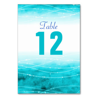 Painted sparkle sea blue Wedding table numbers Card