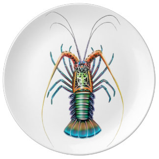 Painted Spiny Lobster Porcelain Plate