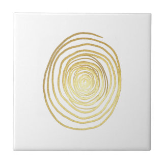 Painted Spiral Swirl in Faux Sparkly Gold Ceramic Tile