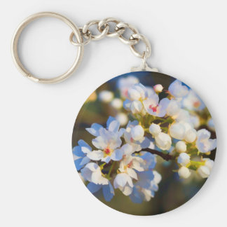 Painted Spring Blooming Bradford Pear Blossoms Keychain