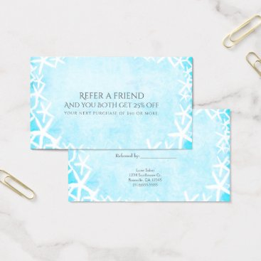 Beach Themed Painted Starfish Aqua Blue Beach Refer a Friend Business Card