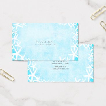Beach Themed Painted Starfish Aqua Blue Tropical Beach Custom Business Card