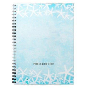 Beach Themed Painted Starfish Aqua Blue Tropical Beach Custom Spiral Notebook