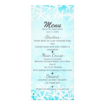 Beach Themed Painted Starfish Aqua Blue Tropical Beach Wedding Rack Card