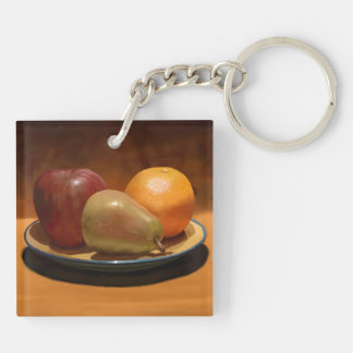 Painted Still Life Fruit Keychain